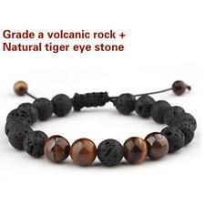 Hot Natural Tiger Eye Stone Lava Stone Volcanic Rock Beads Adjustable Bracelet