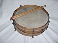 "ANTIQUE WOOD  PICCOLO SNARE  DRUM 13"" BY 3 1/2 ID  6 LUG BURLED SIDES"