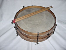 "ANTIQUE WOOD  PICALO SNARE  DRUM 13"" BY 3 1/2 ID  6 LUG BURLED SIDES"