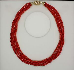 BEAUTIFUL NATURAL CORAL NECKLACE AND DIAMONDS