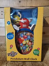 M&M's Pendulum Wall Clock Whimsical Sounds Battery Operated Used in Box!