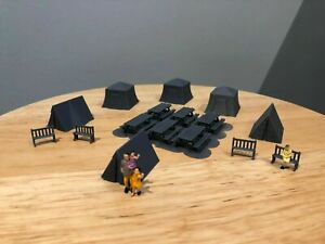 HO Scale 3d Printed Picnic Tables & camp Set of 6 Tables 6 Tents + Benches(Gray)