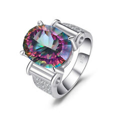 10 CTW MYSTIC OVAL TOPAZ COCKTAIL RING IN 0.925 STERLING SILVER MDS170442