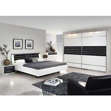 Schlafzimmer Set Nienburg Bett Schrank Nako Weiß Grau Metallic Und Glas  Basalt