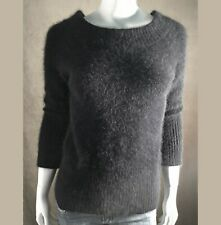 """Fuzzy 35% Angora Sweater Mossimo Black Stretchy 3/4-Sleeve Pullover 31""""-Bust"""