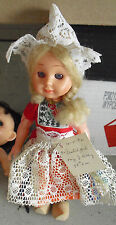 """Vintage 1960s Plastic with Wood Shoes Blonde Dutch Girl Doll 9"""" Tall"""