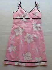 Jade Melody Tam SleevelessPale Pink/Black White Flowers Stretch Lined Dress Sz 8