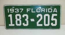 1937 37 FL License Plate 183-205 Florida Tag