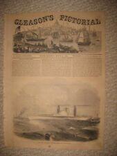 ANTIQUE 1854 PHILADELPHIA PENNSYLVANIA STEAMBOAT STEAMSHIP MARITIME PRINT RARE