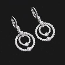 JUDITH RIPKA Sterling Silver with Clear CZ Drop Dangle Lever Back Earrings