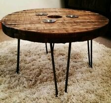 Vintage reclaimed cable reel round coffee table. Retro steel hairpin legs
