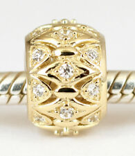 SOLID 9CT 9K GOLD Elegant BEAD with 24pcs CZ gems For Charm Bracelet AUST