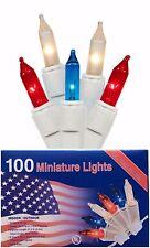Patriotic Red White Blue 100 Mini String Lights Bright July 4 th CHRISTMAS Light