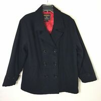Woolrich Womens Large Navy Blue Wool Blend Pea Coat Jacket 5304W5 Anchor
