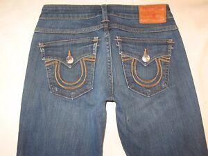 True Religion Becky Jeans Womens Sz 26 Low Bootcut w Flap Pocs Stretch