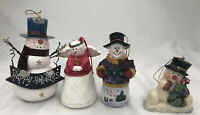 Lot Of 4 vintage Christmas Tree Snowmen Ornaments Holidays Collectibles
