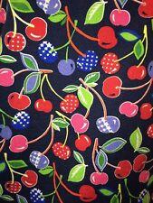 Cherries Fruit Dickies Medical Scrub Cross Body V neck Tie Back Blue Pink Med