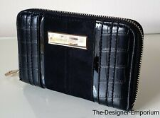 River Island Black Croc Embossed Zip Around Small Purse Wallet Gift