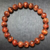 8.2mm Natural Copper Rutilated Quartz Stretch Crystal Beads Bracelet
