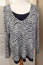 Chico's Sz 3 Large Zebra Black/White Stripe Top Long sleeve Silver Foil Accents