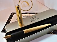Luxury 24ct Gold Plated Parker Frontier Fountain Writing Pen Ink & Gift Boxed