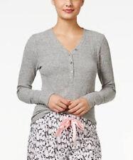 Alfani Mujer Gris Pijama Top Acanalado Henley Talla 3XL
