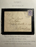 1916 Calella Spain Mourning Cover To Barcelona