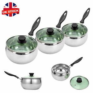 Set of 3 Stainless Steel Deep Induction Non Stick Saucepans Cookware Pan Set lid
