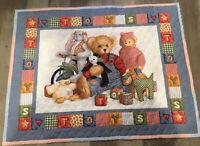 Printed Crib Quilt, Teddy Bears, Bunny, Chick, Blocks, Stars, Hearts, Toys