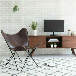 Leather Butterfly Chair Brown Handmade Genuine Leather Living Room Chair HomeE D