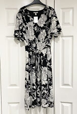 H&M Black & White Kimono Sleeve Belted Floral Midi Dress Size L BNWT
