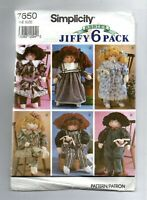 SIMPLICITY ABBIE'S STUFFED DOLL AND CLOTHES JIFFY 6 PACK SEWING PATTERN 7650!