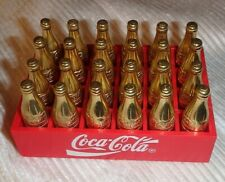 Vintage Mini Coca Cola Crate w/ 24 Gold bottles Miniature *Rare