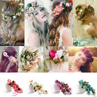 2Pcs Women Kid Wedding Flower Hair Garland Crown Headband Floral Wreath Hairband