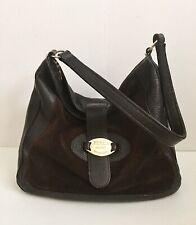 Furla Hobo Shoulder Bag Dark Brown Leather And Suede Satchel EUC