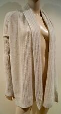 REBECCA TAYLOR Cream Merino Wool & Cashmere Ribbed Open Front Cardigan Sz:S