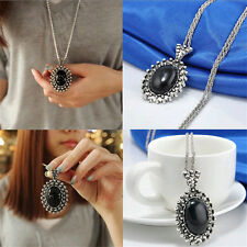 Retro Girls Silver Plated Black Crystal Long Chain Sweater Necklace Jewlery Gift