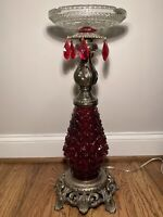 Hollywood Regency Floor Ashtray Lighted Base Made From Vintage Lamp Parts