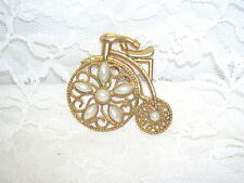 Tricycle Pin Gold With Pearls On Wheels
