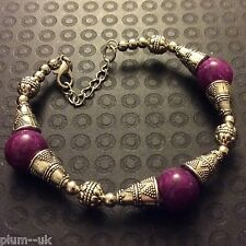 "CB34 Tibetan silver bracelet with purple agate beads 8-9.25"" Plum UK FreeGiftBox"
