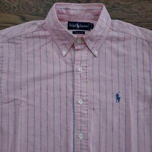 Ralph Lauren Dress Shirt Mens XL Chambray Long Sleeve Buttoned Collar Striped