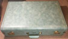 Gorgeous Aqua Blue Vintage Yorkshire Travel Luggage Suitcase Pair (TWO)