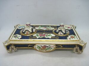 Victorian porcelain twin desk ink stand / inkwell - hand painted