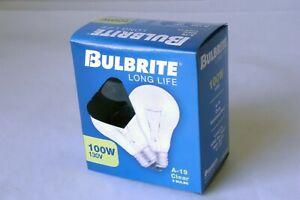 Bulbrite Long Life A-19 Clear 2 Bulbs 100W 130V Aluminum Base 4000 Avg. Hours