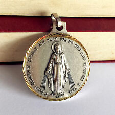 """Lager 1.5""""Silver/Gold Catholic Virgin miraculous mary medal Rosary PENDANT Italy"""