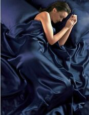 NAVY BLUE SINGLE SATIN DUVET COVER, FITTED SHEET & 2 PILLOWCASES BEDDING SET