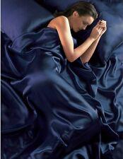NAVY BLUE SINGLE SATIN DUVET COVER, FITTED SHEET & 2 PILLOWCASES BEDDING SET