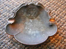 Old Vintage or Antique Metal Ashtray or Trinket Dish Crown Lions Crest Shell