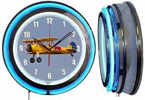 "Boeing-Stearman Model 75 19"" Blue Double Neon Clock Airplane Aircraft Hanger"