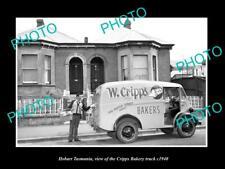 OLD 8x6 HISTORIC PHOTO OF HOBART TASMANIA THE CRIPPS BAKERY TRUCK c1940